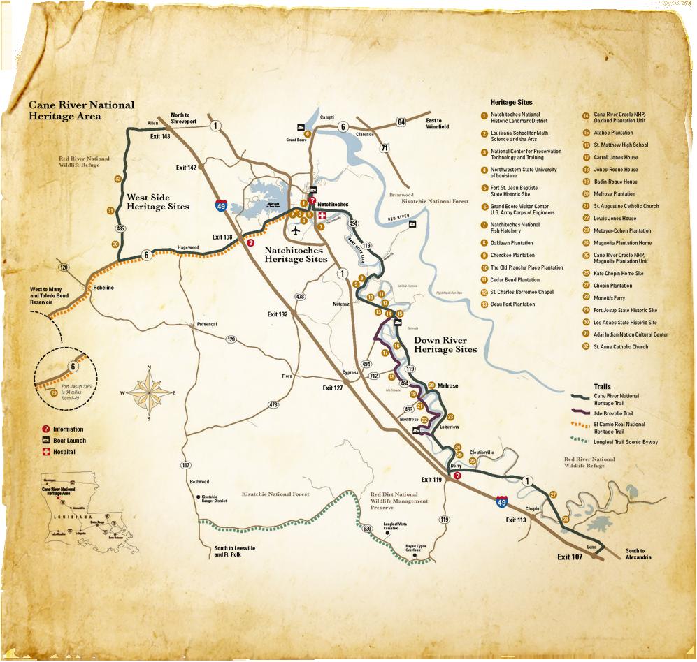 Map Of Louisiana Plantations.Cane River National Heritage Area Map Cane River National Heritage