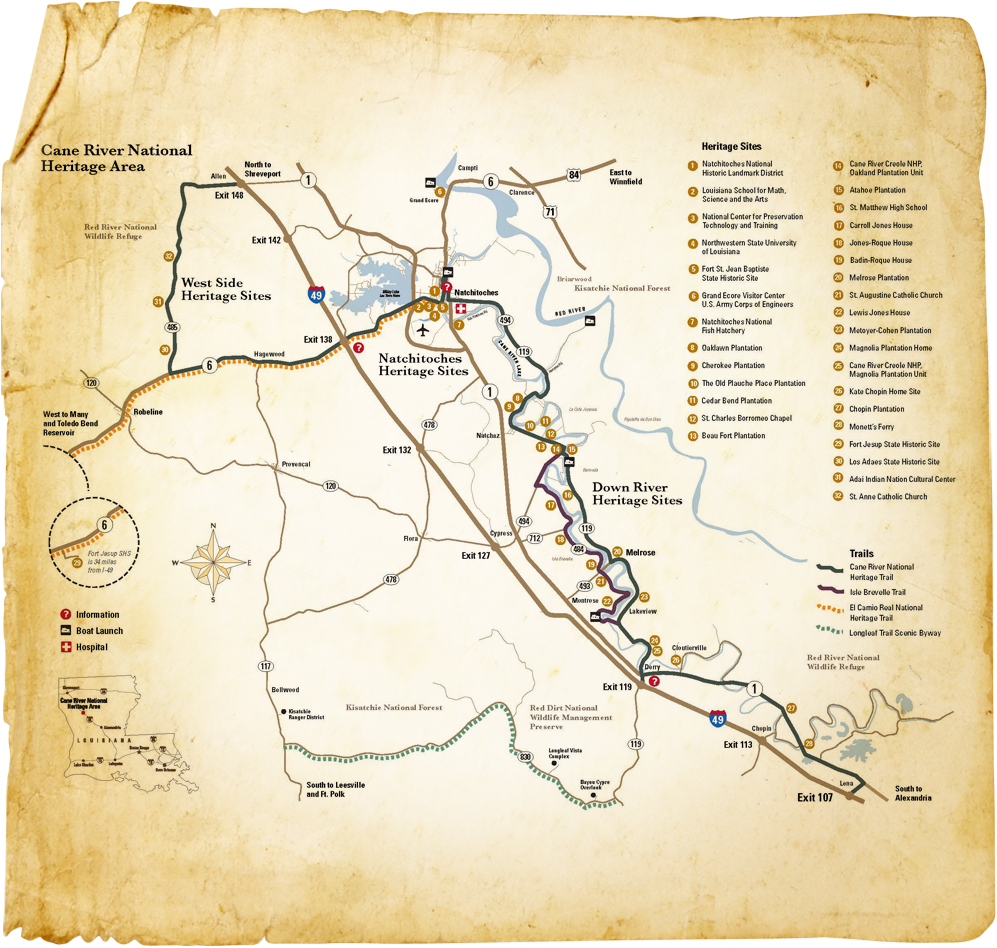 cane river louisiana map Cane River National Heritage Area Map Cane River National cane river louisiana map